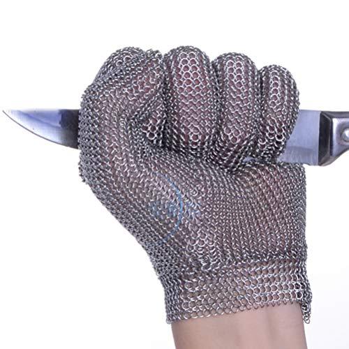 Schnittfeste Handschuhe-XHZ Einzelne schnittfeste Handschuhe aus rostfreiem Stahl mit fünf Fingern, Küchen-, Metzger- und Schweißsicherheitsarbeitshandschuhe. Silbergrau, Größe: XS - L.