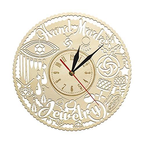 Reloj de Pared Joyas Hechas a Mano Reloj de Pared de Madera Moda Arte de Pared Joya Reloj Colgante Reloj de Pared Joyería Letrero de Tienda Tienda de Lujo Decoración de Pared