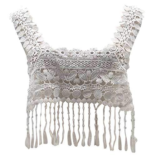 Accesorios de tela para manualidades, apliques, bordado hueco con borla, cuello y apliques para decoración de ropa, color blanco