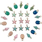 27pcs Sea Charms Enamel Charms Jewelry Making Conch Starfish Shell Charms Alloy Pendants Shell Dangles Shell Bead Jewelry Making Charms Kit