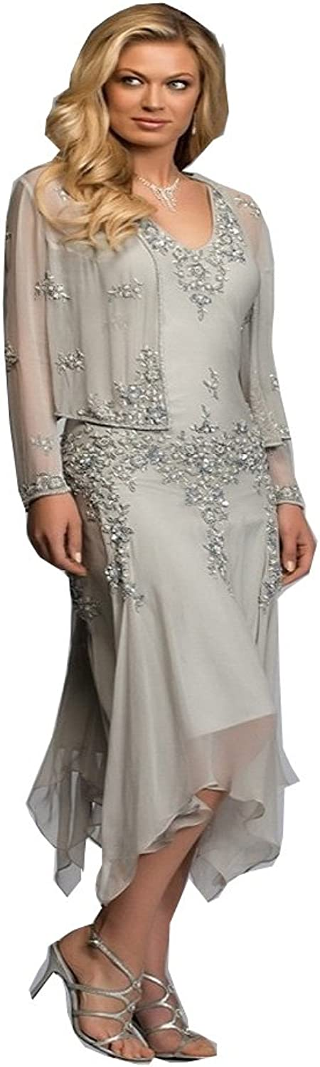 Kelaixiang Aline Beaded Mother of The Bride Dress with Coat