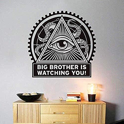 Big Brother Observeer Retro muursticker, zelfklevend, goedkoop waterdicht behang voor woonkamer, decoratie 58 x 61 cm