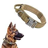 Collar Táctico para Perros con Mango de Control, Ajustable Collar de Nailon con Hebilla de Metal, para Perros Medianos Grandes Caza Al Aire Libre Entrenamiento