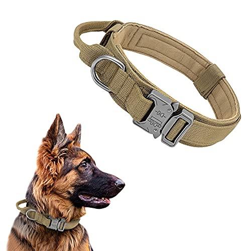 Taktisches Hundehalsband Mit Griff Halsband Metallschnalle K9 Training Nylon verstellbar Nackengürtel für mittelgroße und große Hunde (Khaki, L)