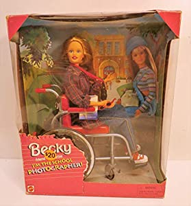 """Barbie BECKY I'm The School Photographer! Doll with Wheelchair Includes doll, jeans, blouse, t-shirt, shoes, wheelchair, doll size """"camera"""", sunglasses, hairbrush From 1998, no longer manufactured, product #20202"""