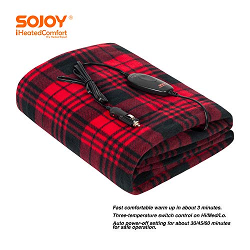 """Sojoy 12V Heated Smart Multifunctional Travel Electric Blanket for Car, Truck, Boats or RV with High/Low Temp Control (60""""x 40"""") (Checkered Black & Burgundy)"""