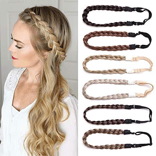 TESS Haarband geflochten Haargummi mit Haaren Damen Haarteile Dutt Braids Extensions verstellbare Kopfband Kleine Haarschmuck Braiding Hair für Frauen 1.5cm Breit 27g Dunkelbraun