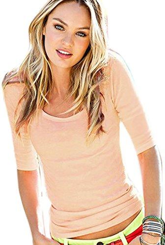 Damen Bluse Sommer Damen Shirt Kurzarm Bluse Rundhalsausschnitt M L (173) (M, Puderrosa)