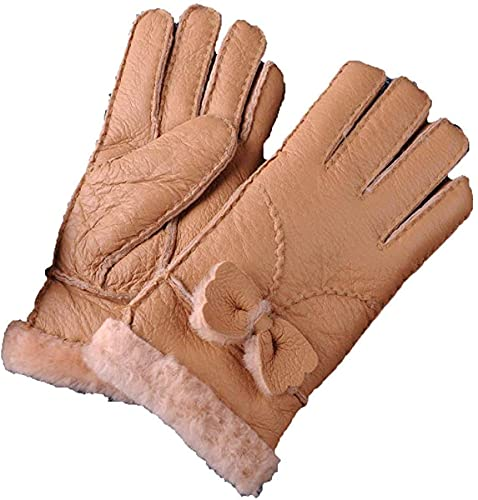 GHCXY Unisex-Adult Mittens One of The Womens in with Winter Simple Glamorous Thick Carved Warm Gloves Fluffy Plain Mittens,Khaki,M