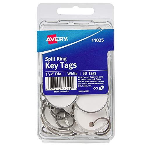 """Avery Metal Rim Key Tags, 1.25"""" Diameter Tag, Metal Split Ring, White, 50 Tags (11025)"""