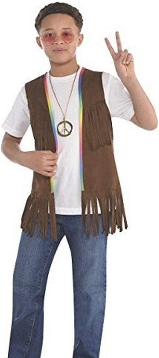 60s 70s Kids Costumes & Clothing Girls & Boys amscan Kids Groovy 60s Long Hippie Vest-   1 Pc. Brown 14.5 x 9.5