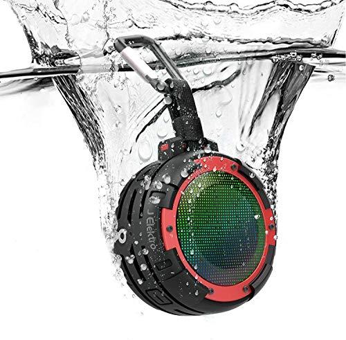 Speaker Bluetooth Portatile,J Elektro Altoparlante Portatile Wireless IPX8 Impermeabile Cassa Bluetooth Speaker Altoparlante per Doccia con Moschettone Integrat,Ventosa,Spettacolo di luci,Vivavoce Mic
