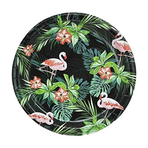 Utensilios de Cocina Artículos de Mesa for Adultos Negro decoración de Fiesta temática de cumpleaños Flamenco Conjunto Cubiertos Desechables Toallas de Papel Vasos de Papel de la Bandeja