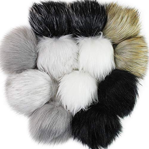 12pcs Fossil Beige Taupe Black Faux Fur Pom Pom Balls for Toques Beanies Hats Keychains Purse Fob Charm Vegan Fake Plush Long Pile Craft Supply