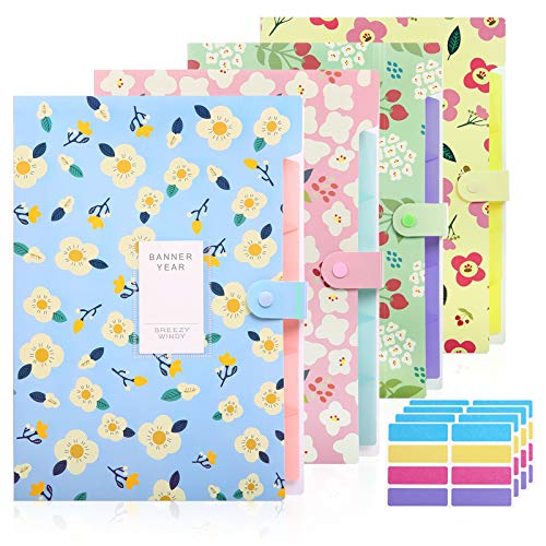 Skydue 4 Pack File Folders with 32 pcs Labels, 5 Pockets Expanding File Folder with Snap Closure A4 Letter Size Accordion Document Organizer for School and Office