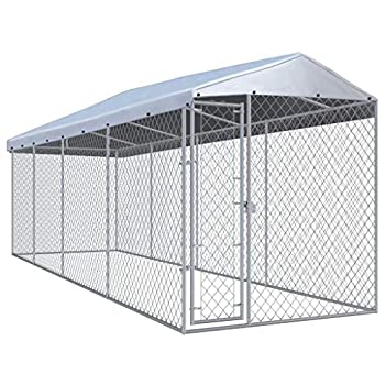 Unfade Memory Outdoor Dog Kennel Metal Pet Enclosure with Roof Extra Large Dog Crate Metal Welded Pet Cage Heavy Duty Playpen  299 x75.6 x94.5