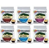 Tassimo Café Jacobs Café Crema Selección - Jacobs Caffé Crema Mild/Classico/Intenso Cápsulas de Café - 6 Paquetes (96 Porciones)