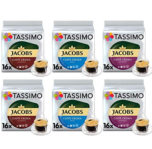 Tassimo Kaffee Jacobs Café Crema Selektion - Jacobs Caffé Crema Mild / Classico / Intenso Kaffeekapseln - 6 Packungen (96 Getränke)