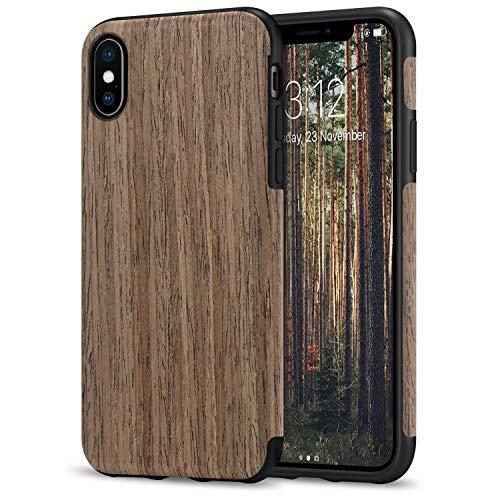 TENDLIN Kompatibel mit iPhone X Hülle/iPhone XS Hülle Holz und TPU Silikon Hybrid Weiche Schutzhülle Kompatibel mit iPhone X/iPhone XS (Schwarz Palisander)