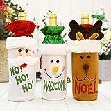 CYPYGDD - Juego de franela, diseño navideño de botellas de vino tinto, para el día de Navidad, champán, hotel, restaurante y bar, juegos de vino, Milu deer