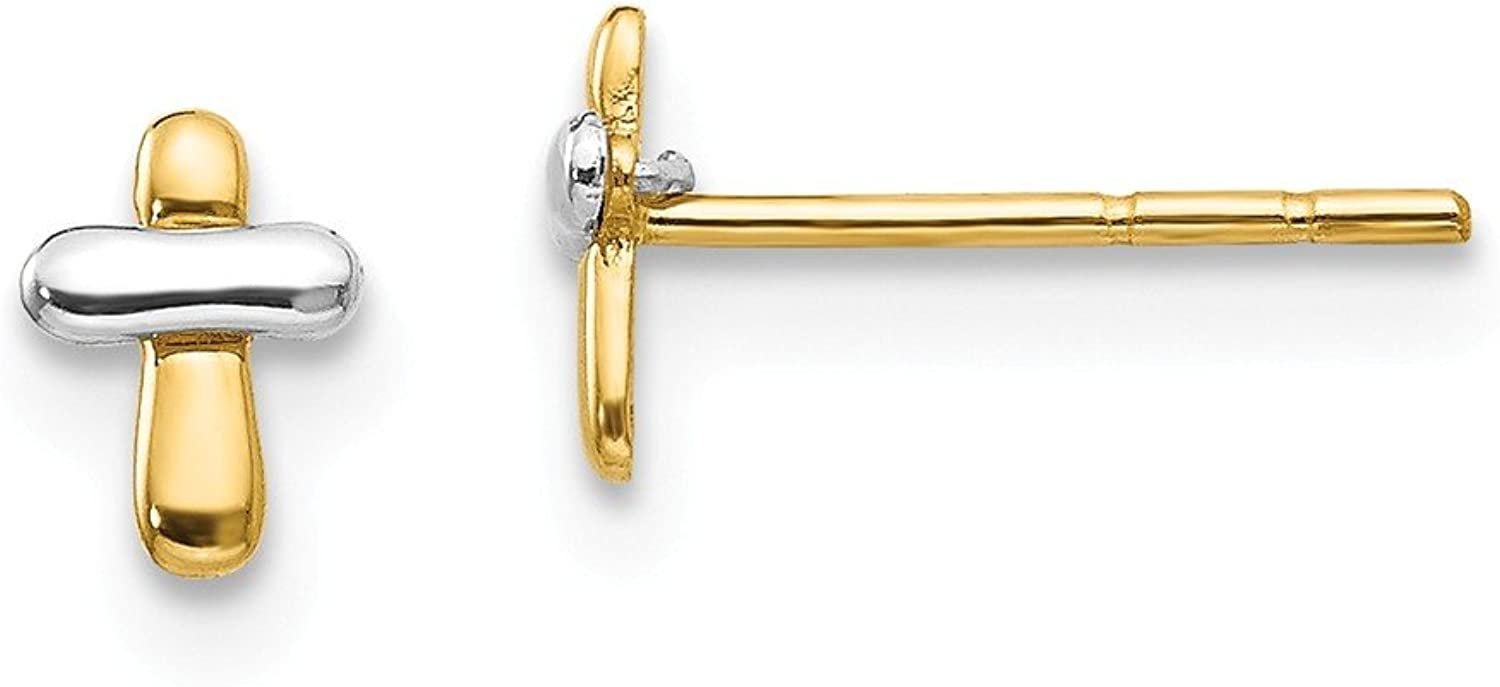 Beautiful White and yellow gold 14K Whiteandyellowgold 14K Twotone Madi K Polished Cross Post Earrings