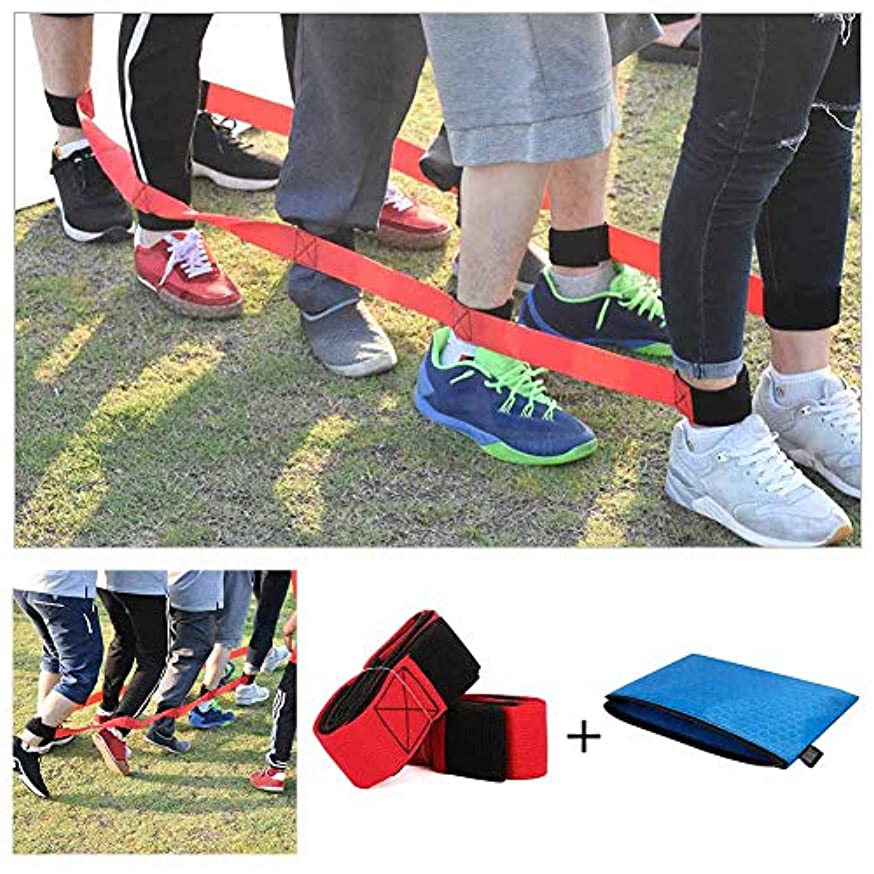 Chengcaifengye 4 Legged Race Bands Outdoor Game for Kids Adults Birthday Team Party Games with Carry Bag( 4 Legged Red)
