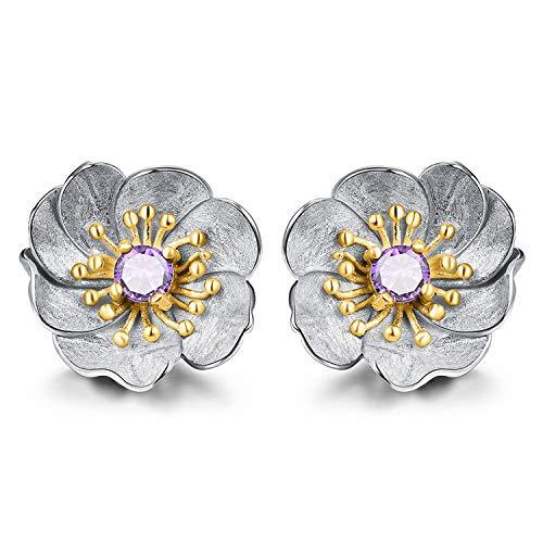 JIANGYUYAN Pendientes Oro de 18 quilates Pendientes de flor de anémona con flores Pendientes de joyería fina hechos a mano de plata de ley 925 genuina para mujer Regalo(Silver -Gold -Purple)