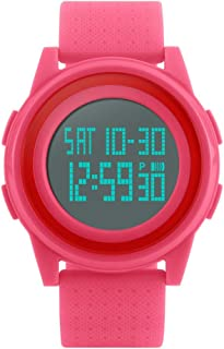 TONSHEN Unisex LED Electronic Digital Watch for Men and Women Outdoor Military 50M Waterproof Plastic Case with Rubber Band Multifunction Sport Wrist Watches Countdown Alarm (Red)