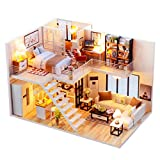 Momola Maison de poupée en bois miniatures DIY House Kit et LED Light-Blossom Age