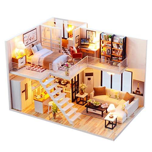 KUSUOU DIY Puppenhaus Kit Miniatur Haus Kit 3D Holz DIY Miniatur Haus Möbel Led Haus Puzzle Dekoration Kreative Geschenke with Dust Cover B