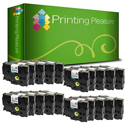 Printing Pleasure 20 x TZe-241 TZ-241 Schwarz auf Weiß, Schriftband kompatibel für BrotherP-Touch | 18mm x 8m