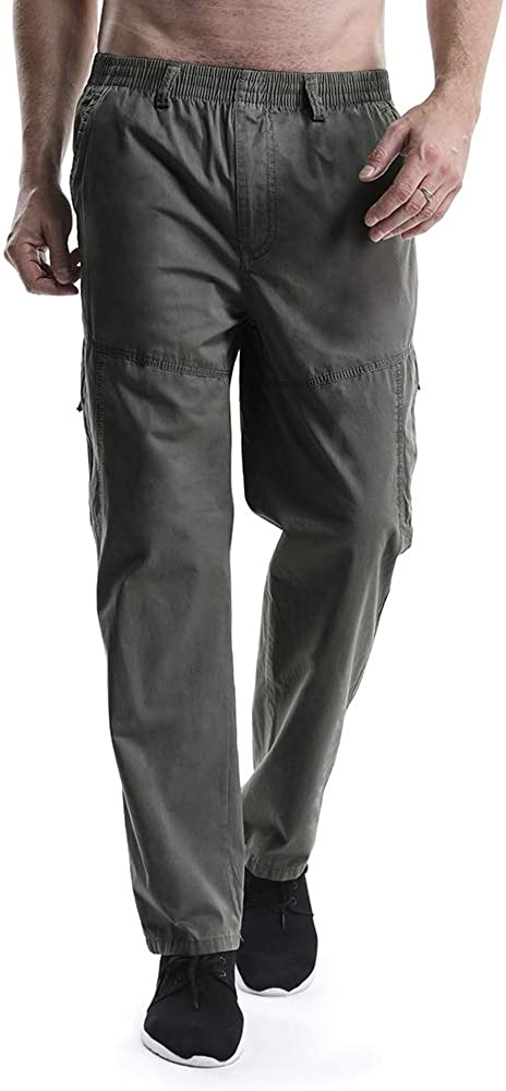 OCHENTA Men's Cargo Pants with Elastic Waist Pull On Relaxed Straight Fit Work Casual Lounge Trousers