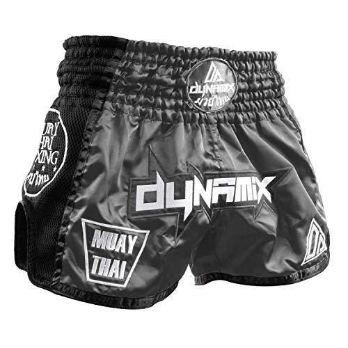 Dynamix Athletics Muay Thai Shorts Warpath - Grau - Premium Thai Short für Thaiboxen traditionelle Thaiboxhose für Herren mit Air-Tech-Gewebe und einzigartigen Muay Thai Stickereien (S)