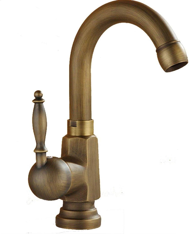 JFFFFWI Antike Wasserhahn Kupfer Einlochmontage Hei Und Kalt Drehbare Bronze Bad Waschbecken Mischventil ffnung 32 MM Bis 40 MM Kann installiert Werden