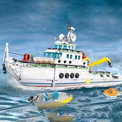 12che 893St Mechanisch Rettungsschiff der Küstenwache DIY Baukasten Spielzeug Kriegsschiff Model für Kinder