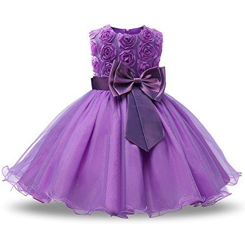 NNJXD Vestido de Fiesta de Princesa con Encaje de Flor de 3D sin Mangas para Niñas Talla(150) 6-7 años Púrpura