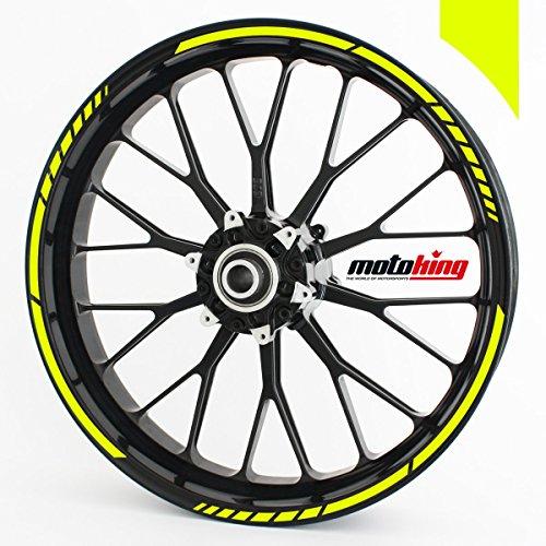 Motoking Felgenrandaufkleber im GP Design in Neonfarben / für 15