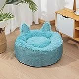 KenKia Cesto grueso de terciopelo cálido para mascotas con orejas de gato, redondo, para perros, antideslizante, cojín de sofá calmante, cama portátil para perros y gatos (M, azul)