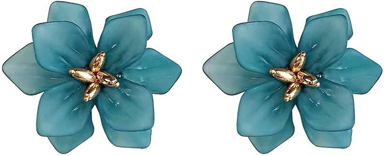 Boho Holiday Flower Earrings Women Acrylic Trend Big White Orange Green Flower Holiday Stud Earrings