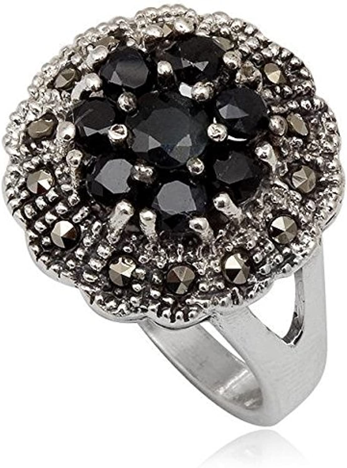 Sapphire Ring bluee with Marcasite 925 Sterling Silver