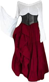 Vintage Costume Gown,Womens Medieval Gothic Flowy Dress Court Party Prom Cosplay Outfit (5XL, Wine)