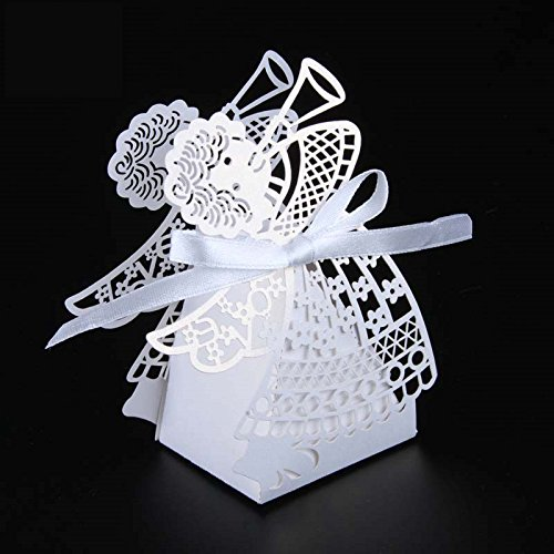 Saitec 50pcs Laser cut angel wedding box souvenirs baby shower candy box gift box party supplies wedding decoration (White)