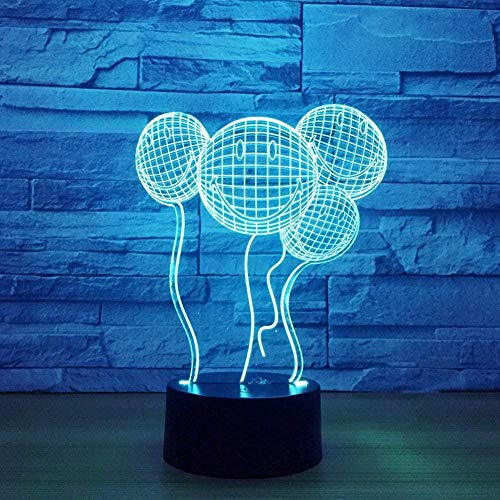 Miling Face Balloonwitch Wedding Party Remotes Cute Children 3D Illusion Lamp Suitable For Boys And Girls Bedroom Bar Living Room Birthday Christmas Gifts Usb Charging Touch Mode 7 Color Variations