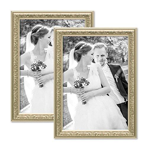 PHOTOLINI 2er Set Bilderrahmen Antik Silber Nostalgie 21x30 cm DIN A4 Fotorahmen mit Glasscheibe/Kunststoff-Rahmen