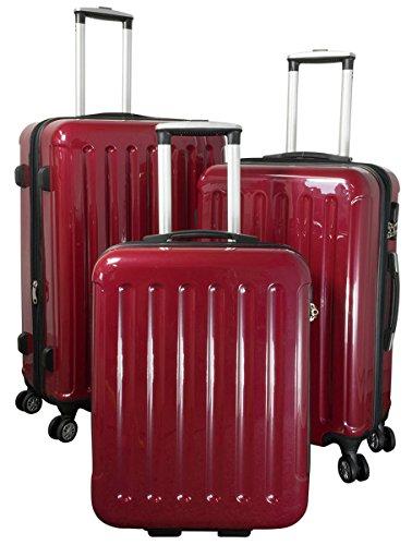 Polycarbonat ABS Hartschalen Koffer Trolley Reisekoffer Reisetrolley Handgepäck Boardcase Farbig 3tlg. (Rot)