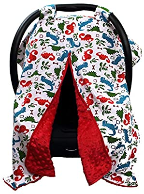 Dear Baby Gear Carseat Canopy, Dinosaur Multicolor, Red Minky