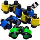 Binoculars for Kids with Neck String 3.5' x 5' (Pack of 6) Bulk Jungle Safari Theme Party Pack Toy Binoculars Favors, and Gifts for Children, Boys and Girls by Bedwina