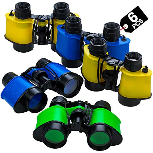 """Binoculars for Kids with Neck String 3.5"""" x 5"""" (Pack of 6) Bulk Jungle Safari Theme Party Pack Toy Binoculars Favors, and Gifts for Children, Boys and Girls by Bedwina"""