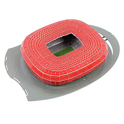 JXS Allianz Arena 3D-Puzzle - Stadtmodell Lernspielzeug - Bayern München Alianz Stadion - 40 × 28,5 × 7,3 cm