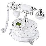 Teléfono con Auricular Retro, Teléfonos Decorativos Antiguos Blancos de Piedras Preciosas Retro, Identificador de Llamadas FSK y DTMF, Calendario Electrónico,para Regalos, Sala de Estar, Hotel